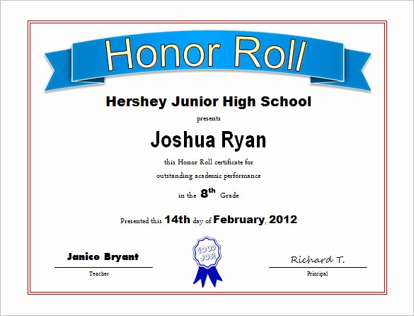 Honor Roll Certificates to Print for Free Best Of 8 Printable Honor Roll Certificate Templates & Samples