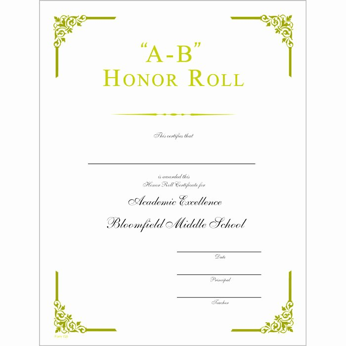 Honor Roll Certificates to Print for Free Elegant Ab Honor Roll Certificate Jones School Supply