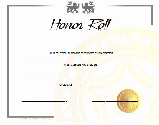 Honor Roll Certificates to Print for Free Fresh Honor Roll Certificates