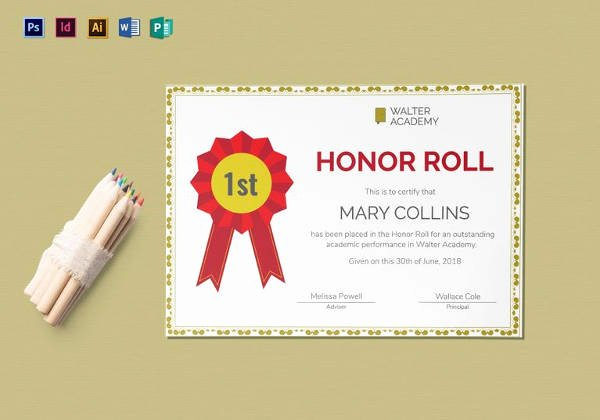 Honor Roll Certificates to Print for Free Inspirational 8 Printable Honor Roll Certificate Templates & Samples