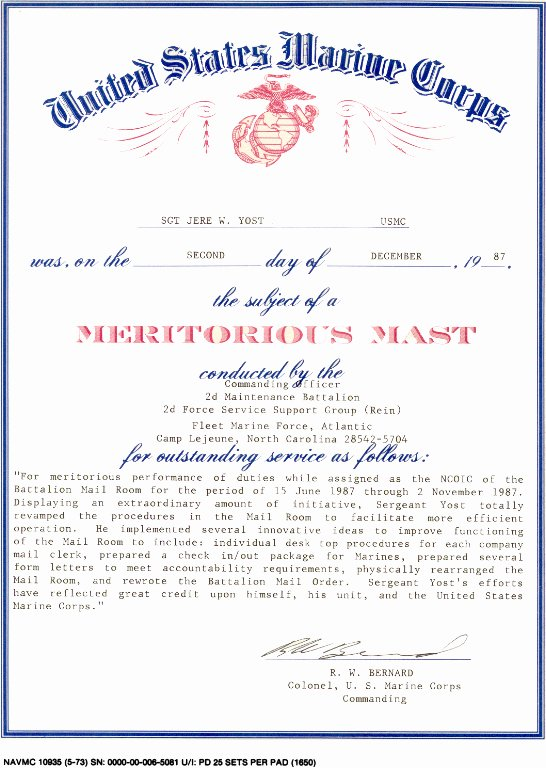 Honorable Discharge Certificate Template Inspirational 16 Of Usmc Meritorious Mast Template Pdf