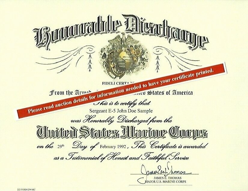Honorable Discharge Certificate Template Lovely U S Marine Corps Honorable Discharge Replacement