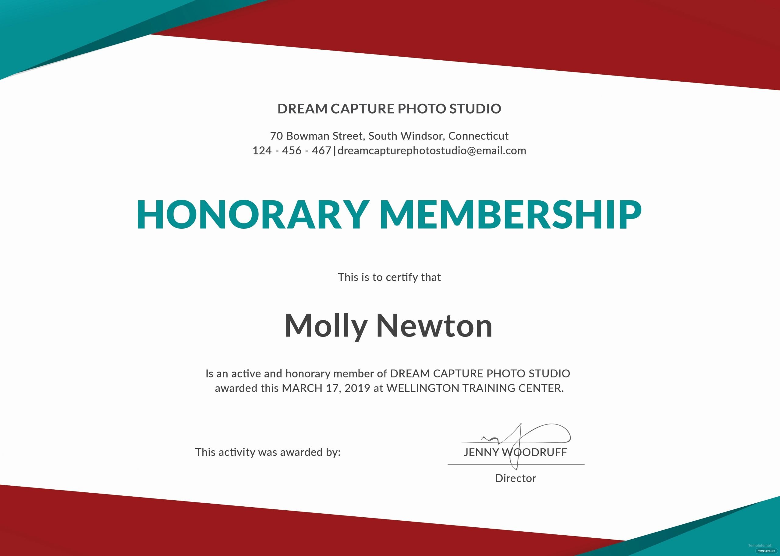 Honorary Member Certificate Template Awesome Honorary Membership Certificate Sample