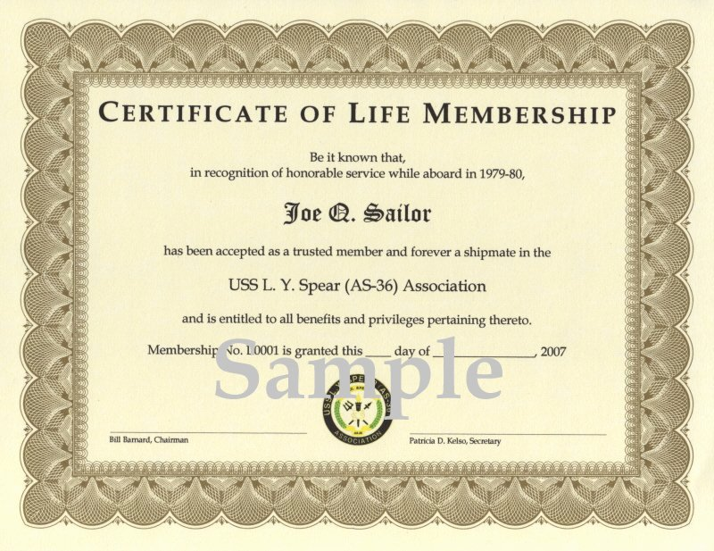 Honorary Member Certificate Template Awesome Uss L Y Spear as 36 association association Membership