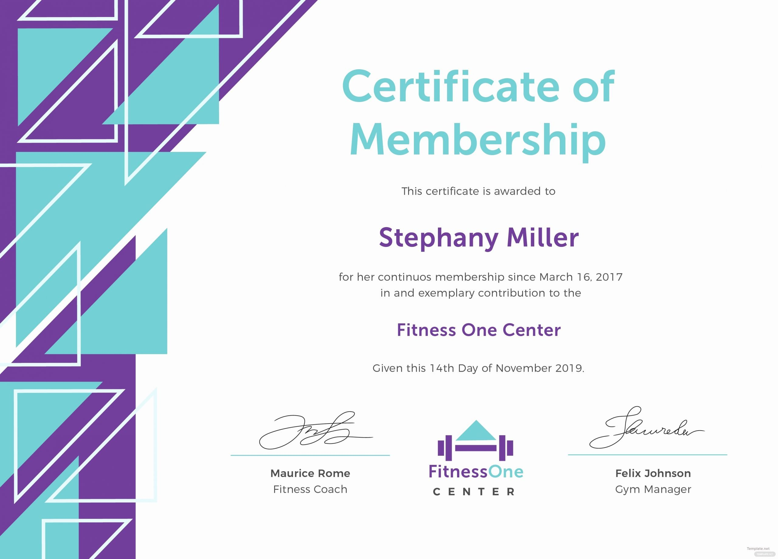Honorary Member Certificate Template New Free Gym Membership Certificate Template In Adobe