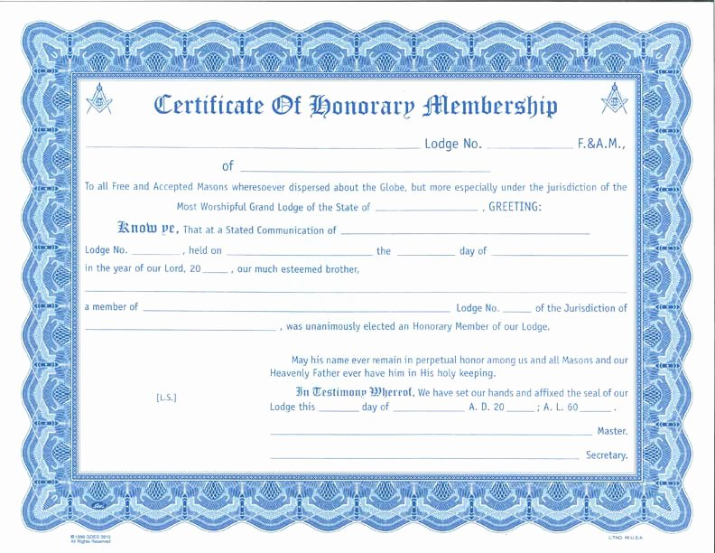 Honorary Member Certificate Template Unique Honorary Membership Certificate Card Envelope – the Grand
