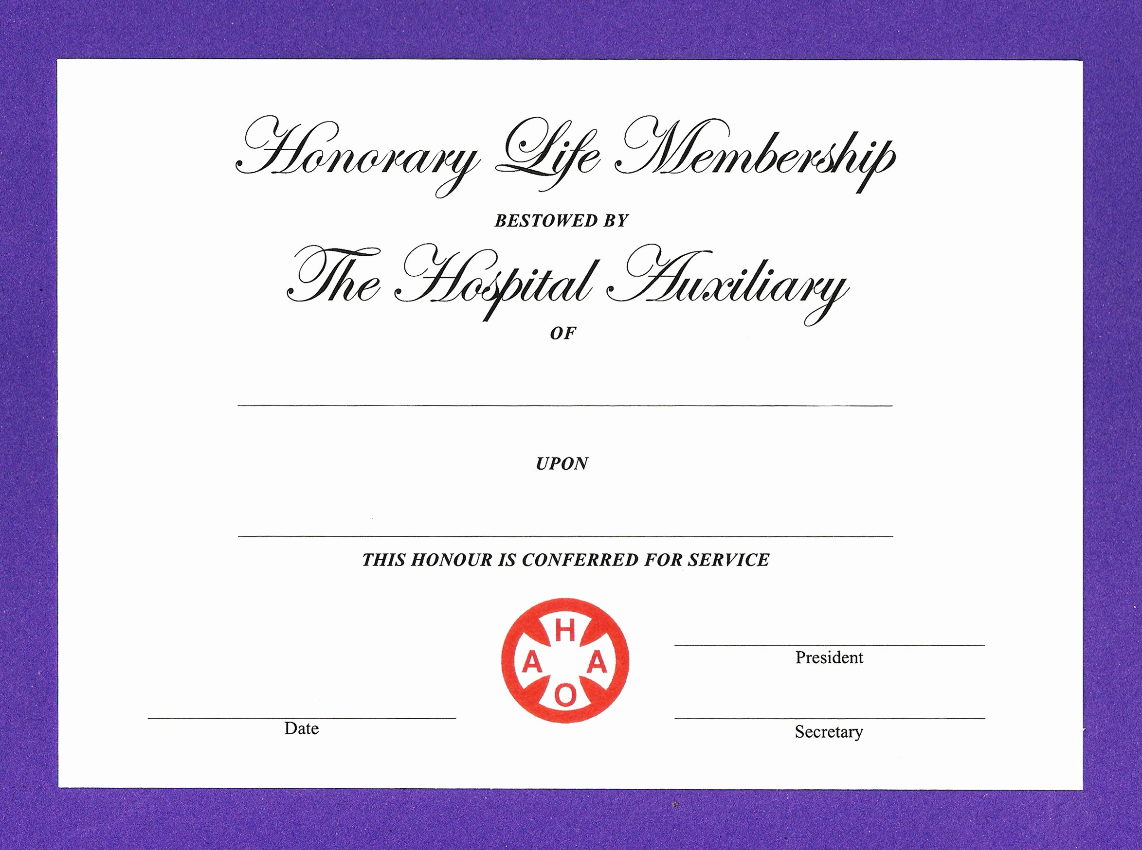 honorary life certificates