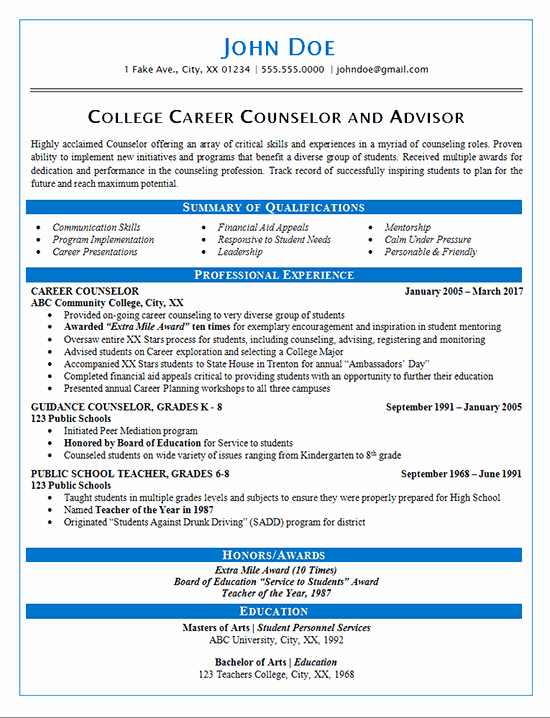 Honors In Resume Best Of Career Counselor Resume Example Guidance and College