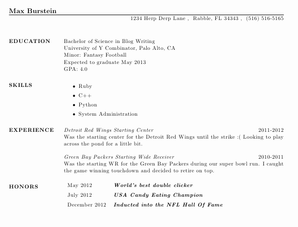 Honors In Resume Lovely Creating A Resume Using Latex Max Burstein S Blog