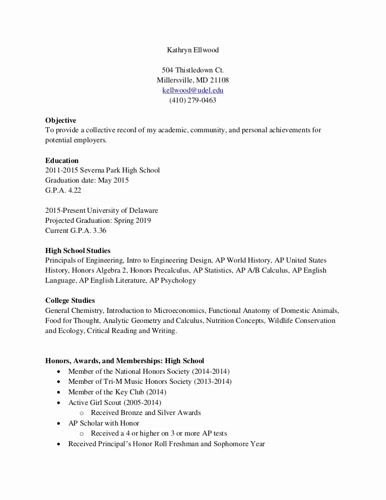 Honors In Resume New Resume