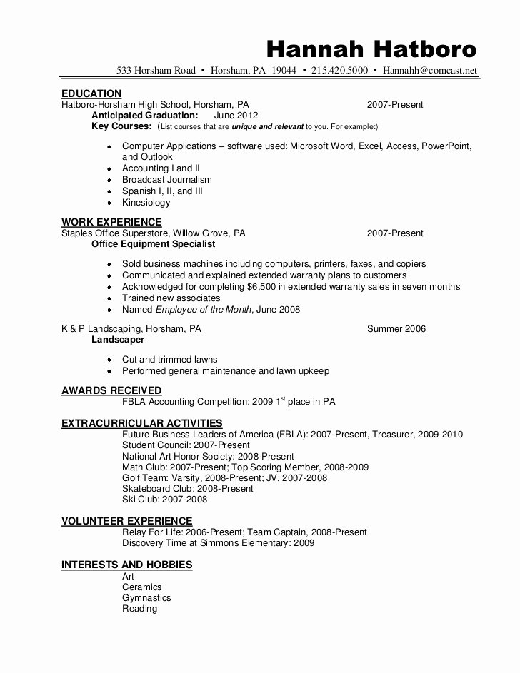 Honors On Resume Elegant Resume Sample Hannah Hatboro 0411