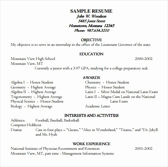 Honors On Resume Fresh 9 Academic Resume Templates to Download