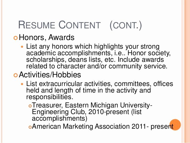 Honors On Resume Lovely Resume with Honors and Activities Teachersites Web Fc2