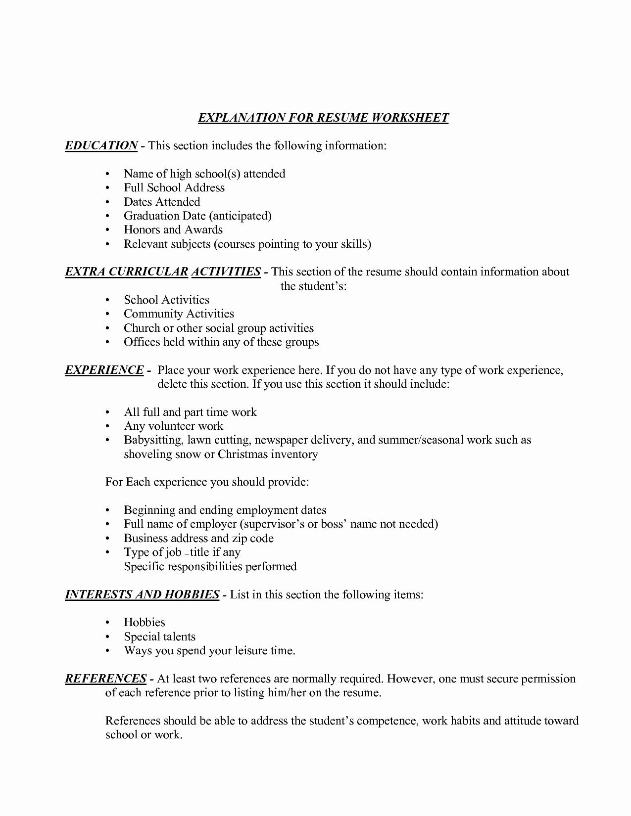 Honors On Resume New 12 Best Of Resume Information Worksheet High