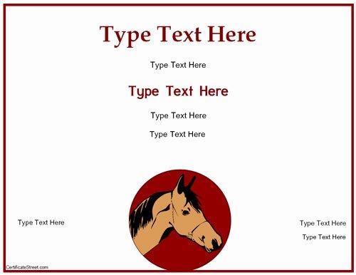 Horseback Riding Gift Certificate Template Best Of Blank Certificates Free Horse Riding Certificate