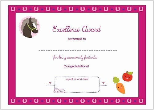Horseback Riding Gift Certificate Template Luxury Excellence Printable Award Certificate