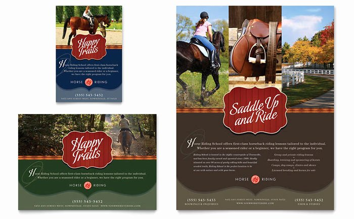 Horseback Riding Lesson Gift Certificate Template Elegant Horse Riding Stables & Camp Flyer & Ad Template Design
