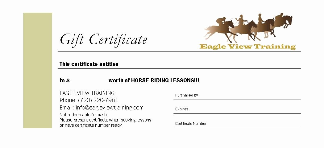 Horseback Riding Lesson Gift Certificate Template Elegant Horseback Riding Lesson Gift Certificate Template