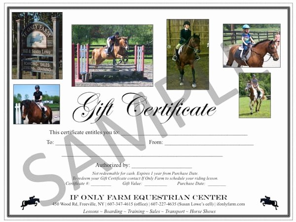 Horseback Riding Lesson Gift Certificate Template Inspirational Gift Certificates if Ly Farm Equestrian Center