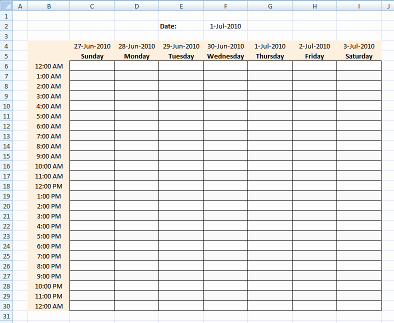 Hourly Calendar Template Elegant Hourly Schedule Template Excel Template