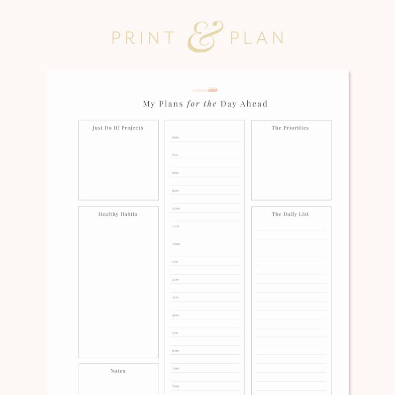 Hourly Weekly Planner Elegant Daily Hourly Planner Printable Daily Schedule Printable