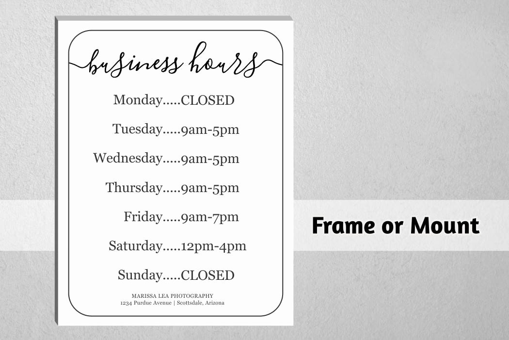 Hours Of Operation Template Microsoft Word New Business Hours Sign Printable Template Hours Of
