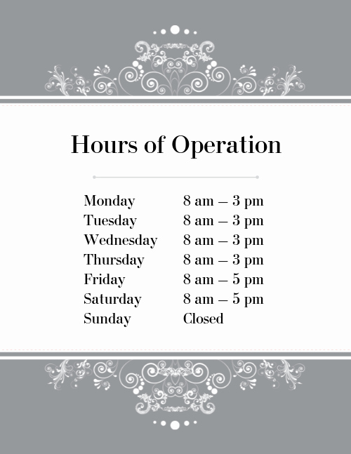 Hours Of Operation Template Word Awesome Hours Of Operation Flyer