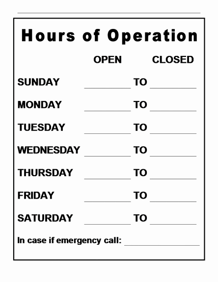 Hours Of Operation Template Word Inspirational Hours Operation Template