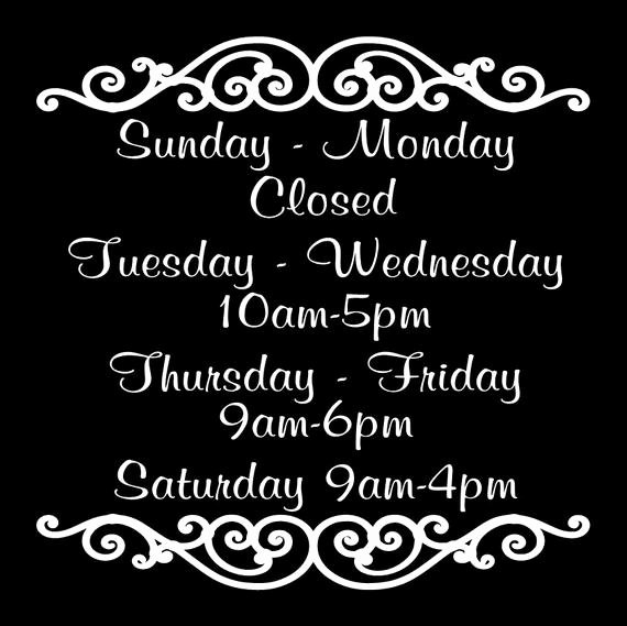 Hours Of Operation Template Word Inspirational Store Hours Vinyl Decal Business Decal Custom Store Hours Sign
