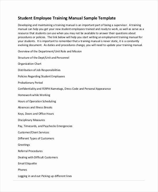 Hours Of Operation Template Word Inspirational Training Manual Template 7 Free Pdf Word Download
