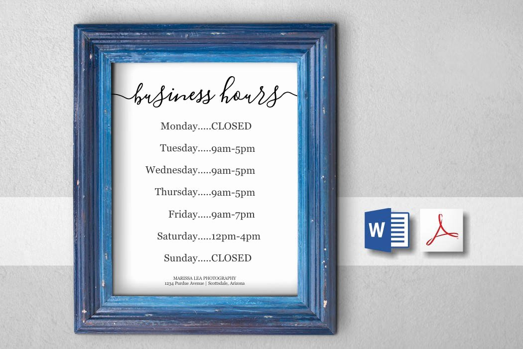 Hours Of Operation Template Word Lovely Business Hours Sign Printable Template Hours Of