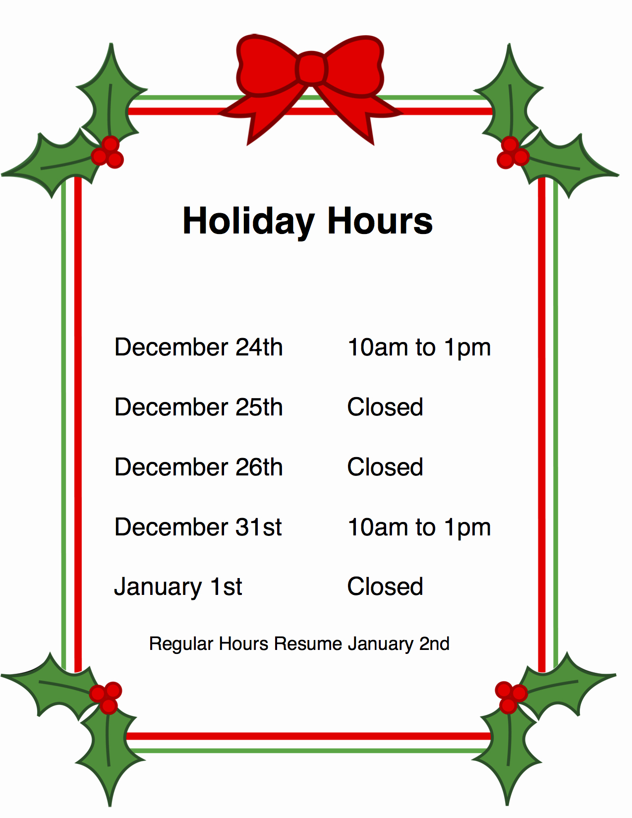 Hours Of Operation Template Word Luxury Holiday Hours Sign Template Free