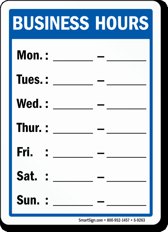 Hours Of Operation Template Word New Business Hours Mon to Sun Sign Write On Sku S 9263