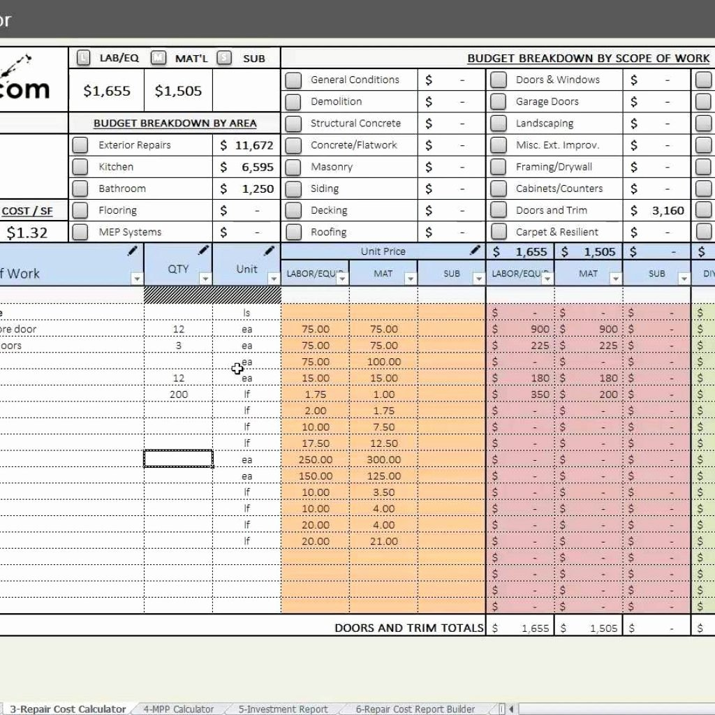 House Flipping Budget Spreadsheet Template Lovely House Flipping Cost Spreadsheet Inside House Flipping
