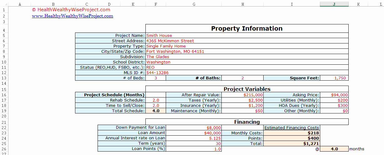 House Flipping Budget Spreadsheet Template Unique Fix N Flip Rehab Analyzer for Excel