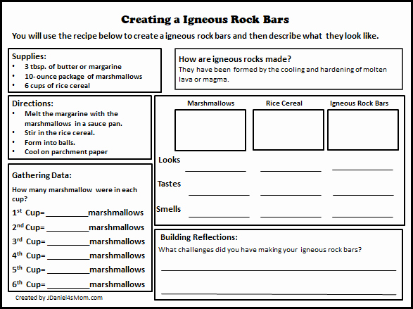Igneous Rock Worksheet Fresh Igneous Cookie Recipe and Rock Cycle Activity Printable