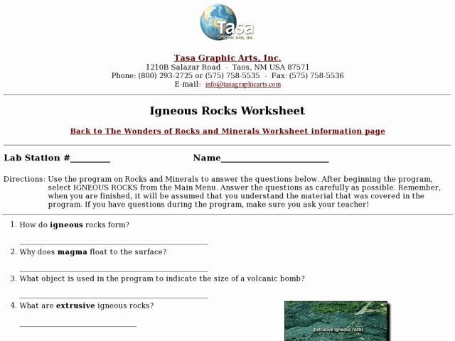 Igneous Rock Worksheet Inspirational Igneous Rocks Worksheet Worksheet for 4th 8th Grade