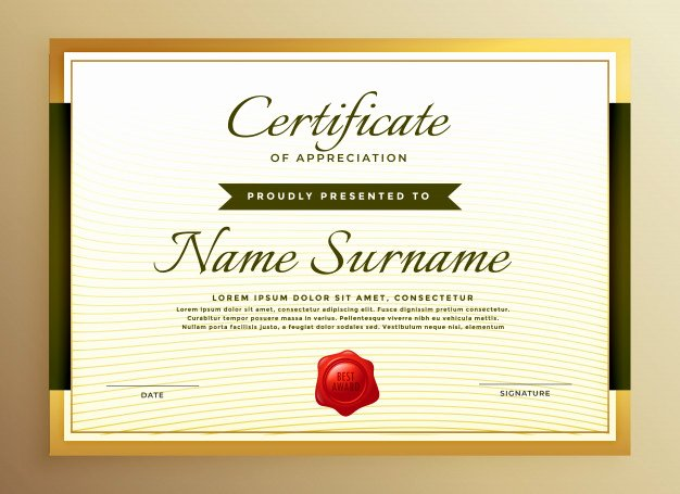 Image Of Certificate Of Appreciation Elegant Premium Golden Certificate Of Appreciation Template Vector