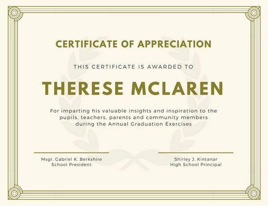 Image Of Certificate Of Appreciation Inspirational Purple and Gold Bordered Appreciation Certificate