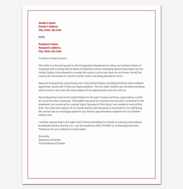 Immigration Pardon Letter Elegant Hardship Letter for Immigration Word Doc Sample