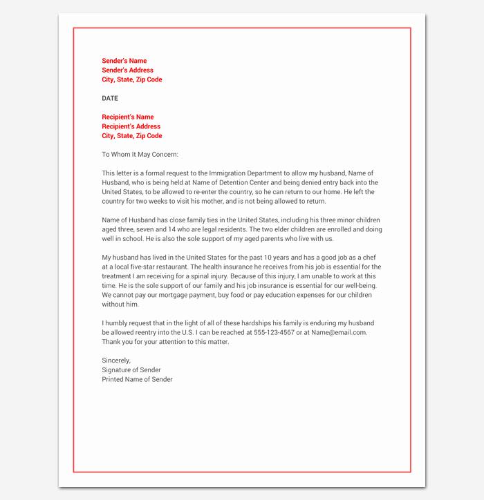 Immigration Pardon Letter Sample Elegant Hardship Letter for Immigration Word Doc Sample