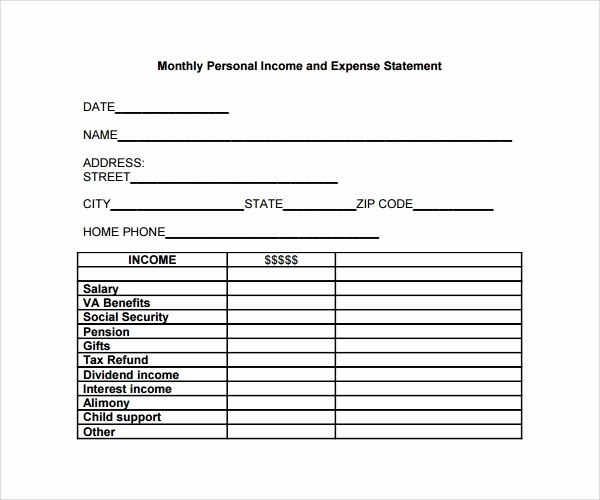 Income Expense form Beautiful Free In E and Expense Statement Template