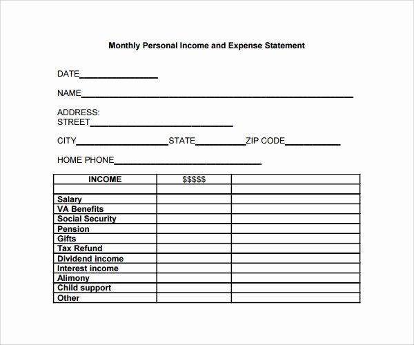 Income Expense form Best Of Sample Expense Statement Template 13 Free Documents In