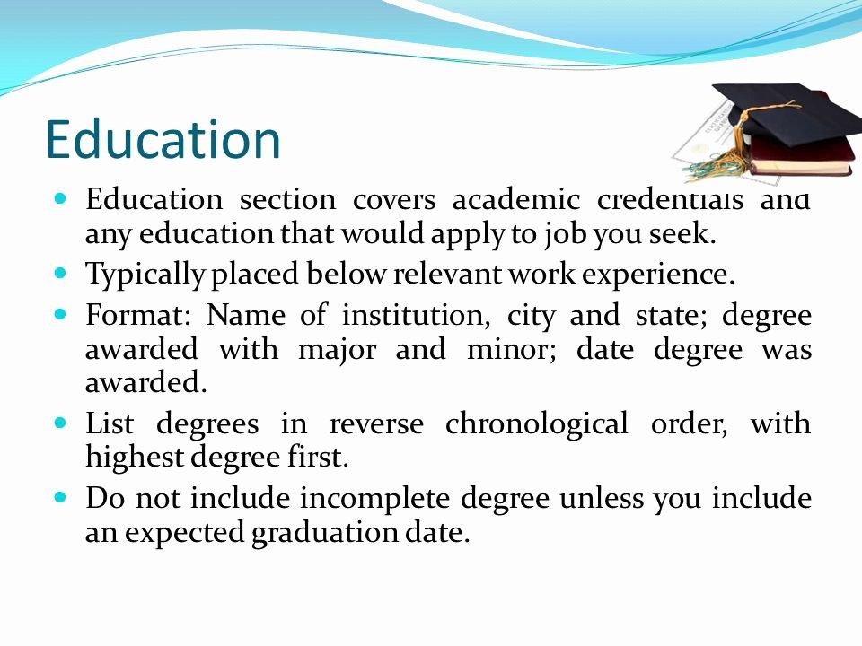 Incomplete Degree On Resume Elegant Resume Education Section In Plete Degree