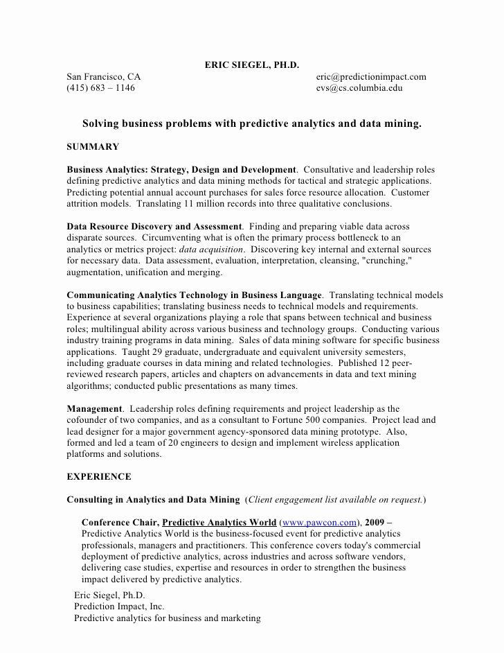 Incomplete Degree On Resume Unique Resume for Work In Predictive Analytics