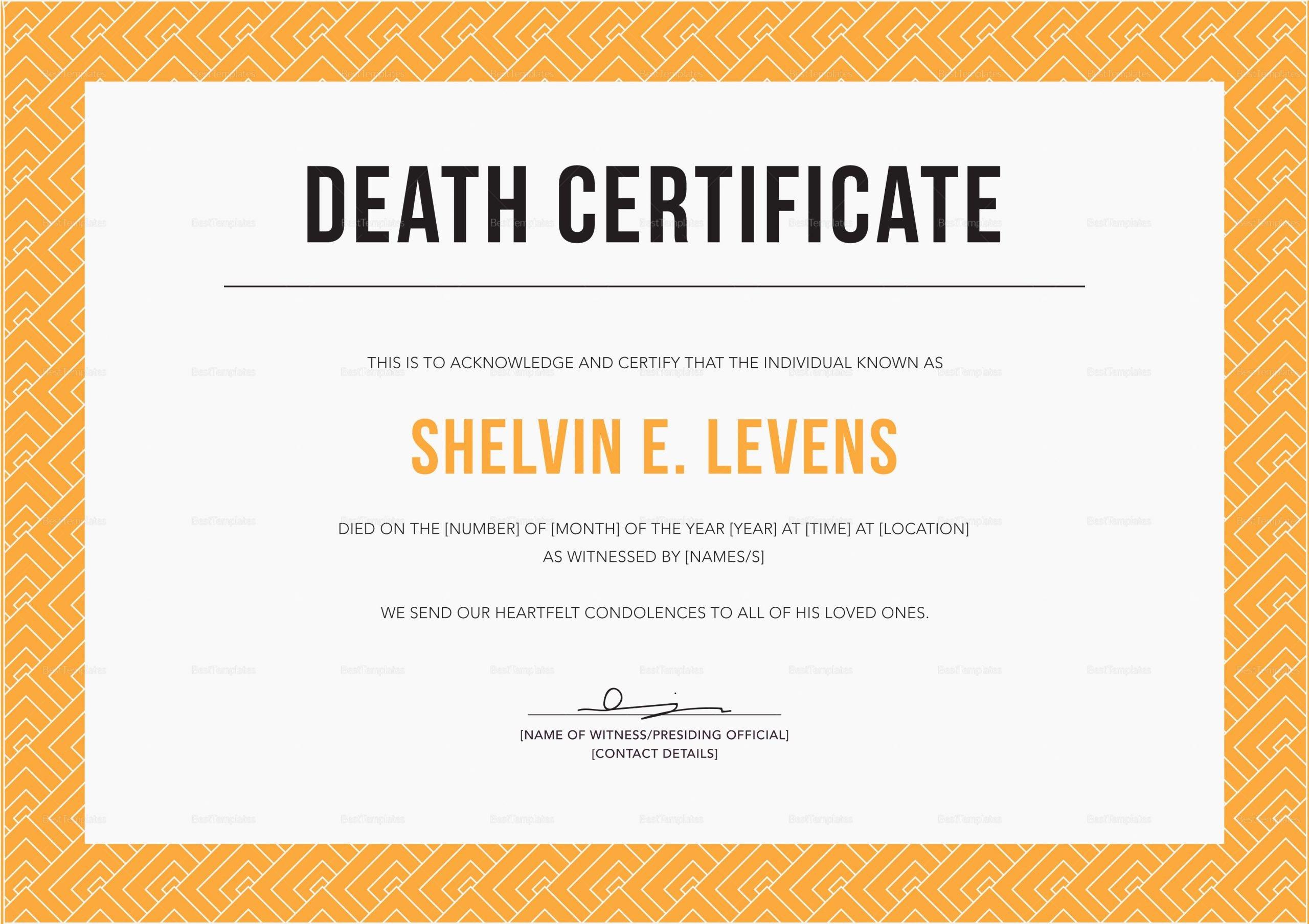 Indesign Certificate Template Free Luxury Death Certificate Design Template In Psd Word