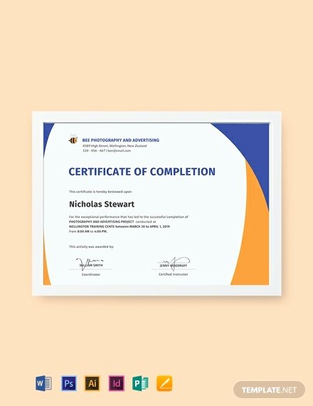 Indesign Certificate Template Free New Free Pletion Certificate Template Word