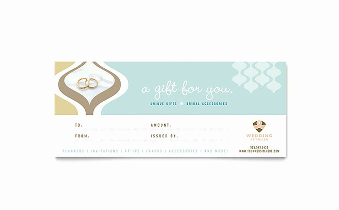 Indesign Gift Certificate Template Lovely Wedding Store & Supplies Gift Certificate Template Design