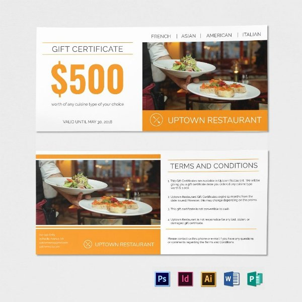 Indesign Gift Certificate Template Unique 10 Restaurant Gift Certificate Templates Illustrator