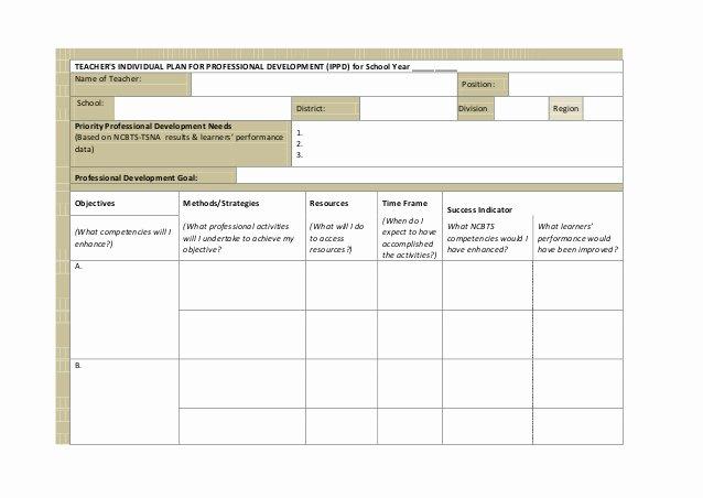 Individual Professional Development Plan Samples Luxury Ippd for Teachers